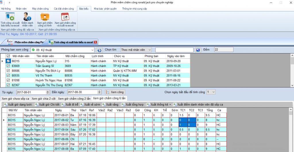 Phần mềm chấm công xuất báo cáo ra excel