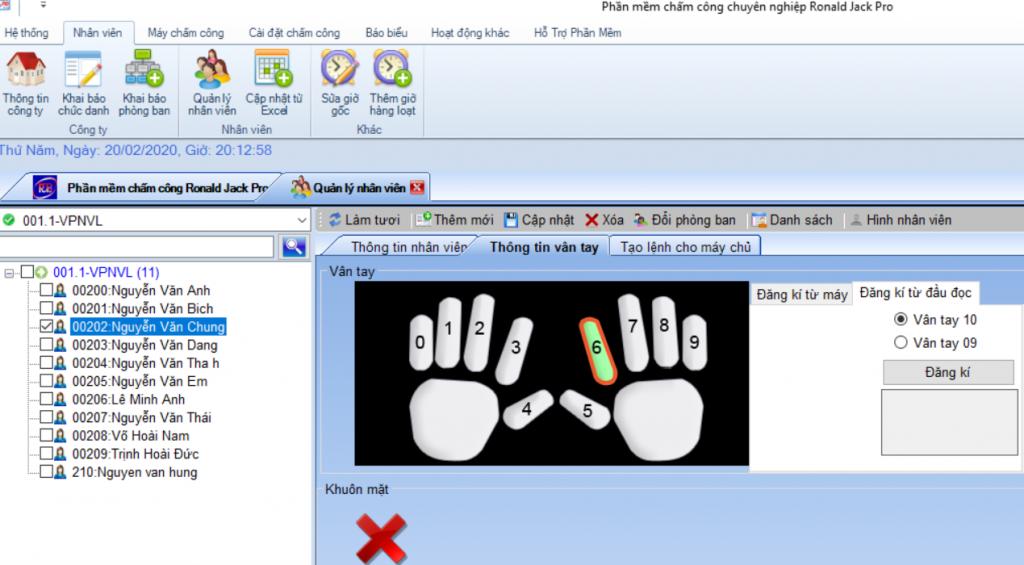 Phần mềm lấy dâu vân tay từ đầu đọc vân tay zk9500