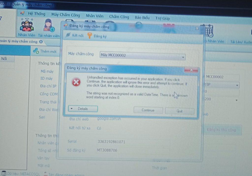 Lỗi đăng ký phần mềm mitapro